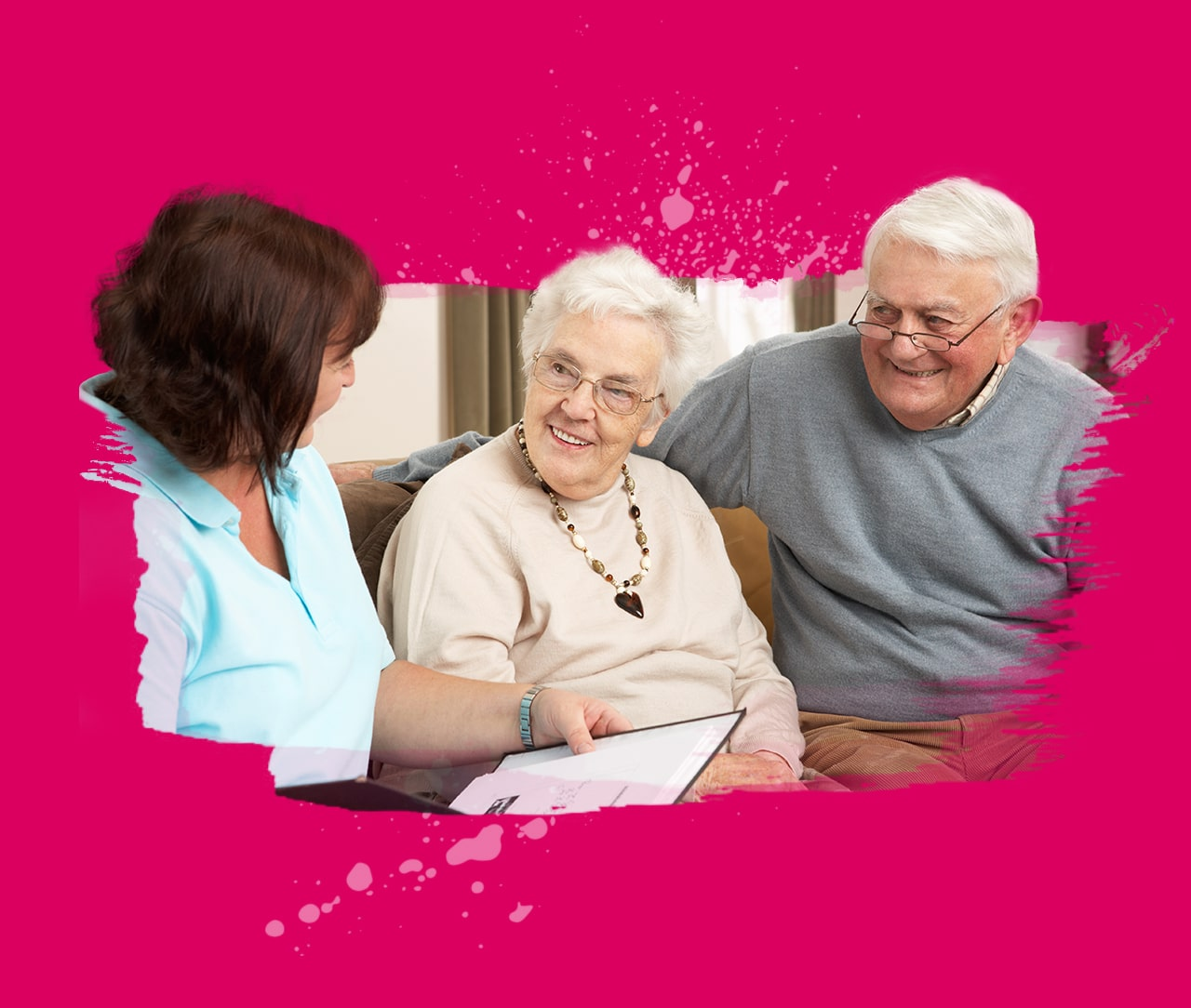 Care Team meeting with senior couple