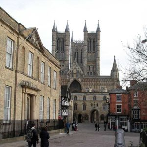 Lincoln cathedral and square in the day time