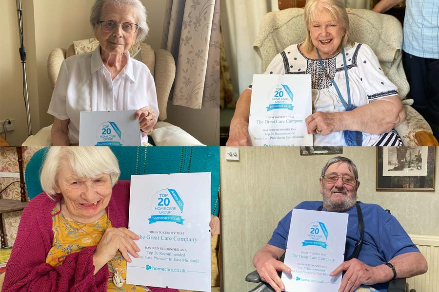 Clients happy about Award-Winning Home Care Service hold Great Care Company awards.